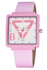 SKONE Woman Square Dial PU Leather Strap Casual Trendy Ladies Watch Quartz Analog Pink - Intl