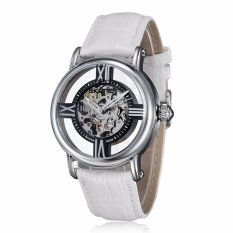 SKONE Women Luxury Brand Fashion Casual Watches Hollow Out The Dial Mechanical Watch Genuine Leather Strap Waterproof Wristwatch-White