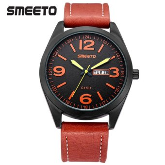Smeeto Urban Style Jam Tangan Pria Wanita Fashion Waterproof Analog Quartz Men Lady Watch - Orange