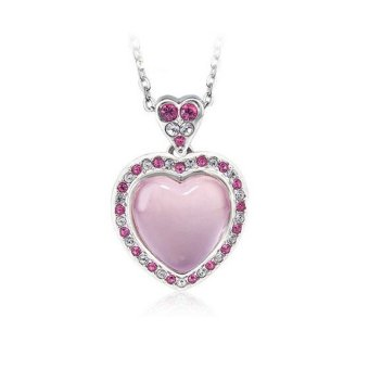 Solid 925 Sterling Silver Heart Pendant With Opal Stone (Pink)