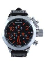 SPEATAK 60114G Men's Fashion Stainless Steel PU Leather Wrist Watch - Black + Silver + Orange