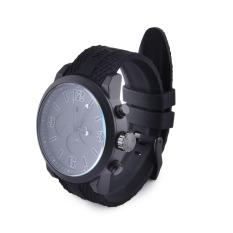 SPEATAK Men's Three Decorative Non-Functioning Sub Dials Colorful Number Quartz Watch (Black / White)