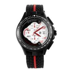 SPEATAK Multifunction Men's Rubber Band 3ATM Waterproof Quartz Sport Watch W / Stopwatch Timer Calendar - Black (Intl)