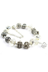 Sporter Women Crown Crystal Beads Bangles Chic White (Intl)