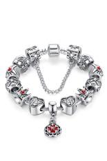 Sporter Women Heart Crown Bead Bracelet Vintage Jewelry Silver 20cm (Intl)