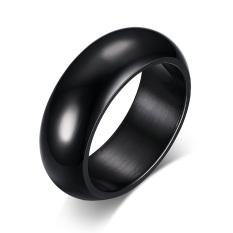 Stainess baja 7 mm hitam tinggi dipoles klasik Weddign Band perhiasan cincin pertunangan cincin untuk pria
