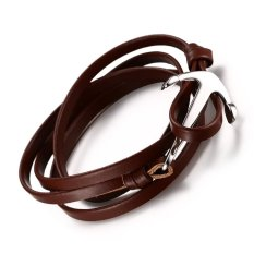 Stainless Steel Sailor Anchor Bracelet For Men Women With Brown Wrap Real Leather Chain