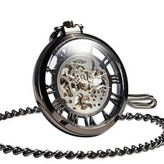 Steampunk Mechanical Black Skeleton Big Size Hand Winding Pocket Watch Open Face Fob For Men - Intl