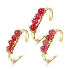 Stone Beads Gold Plated Bracelet Open Stone Bracelet Fashion Women Jewelry BraceletRose Red - Intl