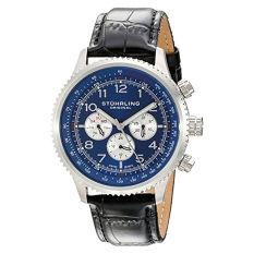 Stuhrling Original Men's 858L.02 Octane Concorso Silhouette Analog Swiss Quartz Black Croc-Textured Leather Watch (Intl)