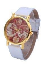 Style Maps GENEVA Super Popular Beautiful PU Leather Quartz Wrist Watch (White)