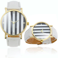 Stylish Ladies Quartz Wrist Watch Strips In 2 Colors Design White (Intl)