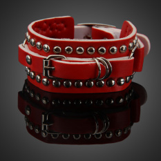 Stylish Punk Style Multilayer Rivets Wide Bracelet Bangle For Woman Red (Intl)