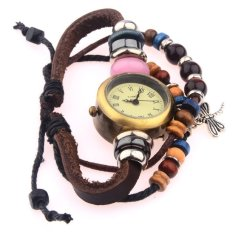 Sunshine Korean Version Lady Dragonfly Pendant Beaded Genuine Leather Bracelet Watch