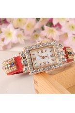 Sunwonder Hot Fashion Women Retro Chains Synthetic Leather Strap Watch Bracelet Wristwatch (Red) (Intl)
