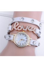 Sunwonder Love Cz Dial Wrap Around Synthetic Leather Bracelet Wrist Watch (White) (Intl)