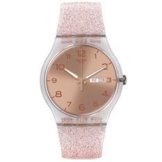 Swatch - Jam Tangan Wanita - Bening-Merah Jambu - Rubber Merah Jambu - SUOK703 Pink Glistar