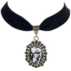 Sweet Velvet Ribbon Collar Pendant Necklaces Fairy Tale Pattern Chokers LB223 Black