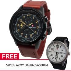 Swiss Army BOGOF D47H355SA4074MCKTM Chronograph Elegant Jam Tangan Pria Leather Strap + Gratis Swiss Army D46H60SA6004M
