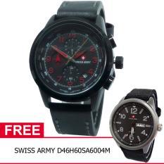 Swiss Army BOGOF D47H355SA4074MHTMM Chronograph Elegant Jam Tangan Pria Leather Strap + Gratis Swiss Army D46H60SA6004M
