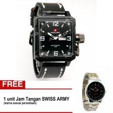 Swiss Army BOGOF - Jam Tangan Pria - Kulit - Hitam Putih - SA 0050 (Bonus 0055)