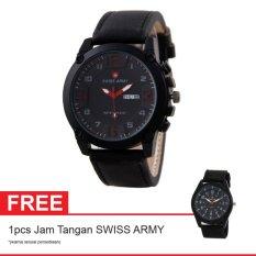 Swiss Army BOGOF Jam Tangan Pria - Kulit - Hitam - SA 7169C Black Red + Gratis Jam Tangan Swiss Army