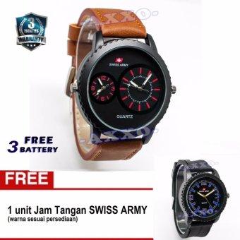Swiss Army BOGOF SA 0066 Dual Analog - Jam Tangan Pria - Kulit Coklat Variasi Merah