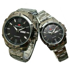 Sa X003131 Black Gold Source Swiss Army Jam Tangan Couple Stainless Steel Strap .
