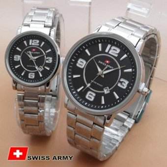 Swiss Army Couple Watch - Stainless Steel - SA09910 Silver Black