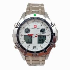 Swiss Army Digital Combo - Jam Tangan Pria - Silver Stainless - Dial Putih - SA 1101 SP