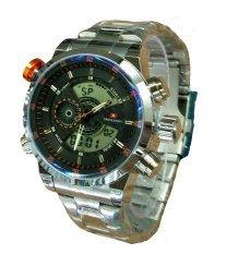 Swiss Army Dual Time SA1502G Jam Tangan Pria - Dual Time - Full Stainless - Silver Orange