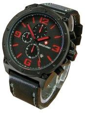 Swiss Army Fashion Men Jam Tangan Pria Chronograph Strap Tali Kulit SA 5052 Hitam Merah