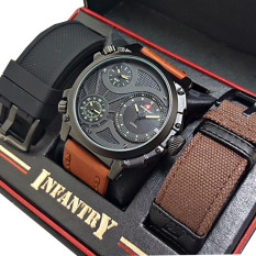 Swiss Army Triple Time Jam Tangan Pria Leather Strap Sa 1561 Ny Source · Leather Strap