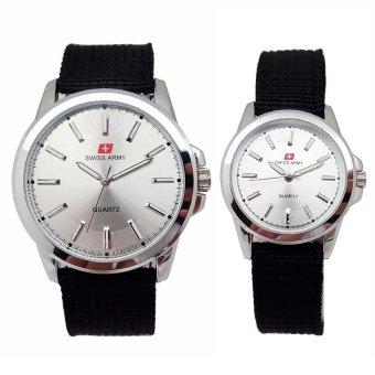 Swiss Army - Jam Tangan Couple - Strap Kanvas Hitam - Dial Putih - SA 5093
