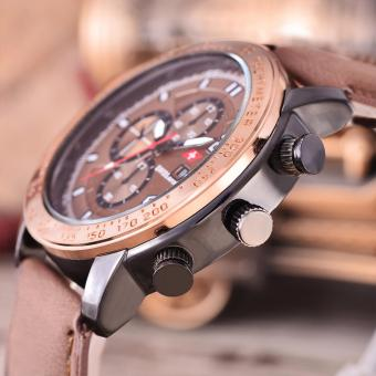 Swiss Army Jam Tangan Pria Body Black RoseGold Brown Dial Brown Leather SA .