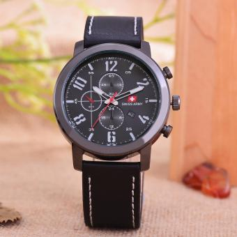Swiss Army - Jam Tangan Pria - Body Black/Black Dial - Black Leather Strap