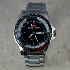 Swiss Army - Jam Tangan Pria - Body Silver - Black Dial - Stainless Steel Band