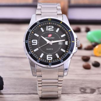 Swiss Army - Jam Tangan Pria – Body Silver – Black Dial – Stainless steel band