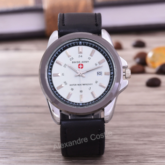 Swiss Army - Jam Tangan Pria - Body Silver – White Dial - Black Leather -