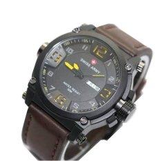 Swiss Army Jam Tangan Pria - Coklat Tua - Strap Leather - SA7169