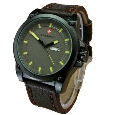 Swiss Army Jam Tangan Pria - Leather Strap - Light Brown - SA 1611 Dark Brown