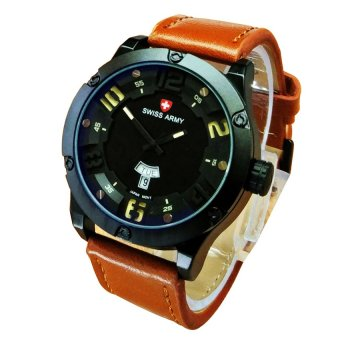 Swiss Army Jam Tangan Pria - Leather Strap - SA 7045LB Kuning