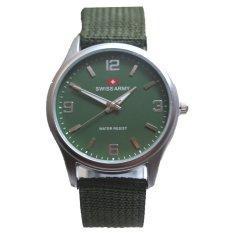 Swiss Army - Jam Tangan Pria - Silver Dove - Bezel Hijau - Tali Kanvas-