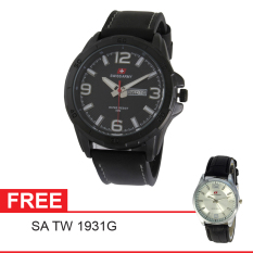 Swiss Army Men's Elegant - Hitam - Kulit - SA5022 FB + Gratis Swiss Army SA 1118