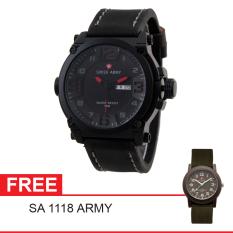 Swiss Army Mens Elegant - Hitam - Stainless/Kulit - SA 7169 BL RD + Gratis Swiss Army SA 1118