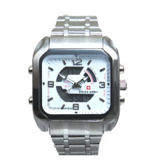 Swiss Army Men's - Jam Tangan Pria - Dual Time - Silver - SA 8004 M Bezel Silver - Stainless Steel Back