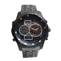 Swiss Army Men's - Jam Tangan Pria - Hitam - Dual Time - 1518 MB- Stainless Steel Back