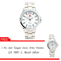Swiss Army Men's - Jam Tangan Pria - SA 5085 M Body Silver + Bezel Silver - Silver - Stainless Steel Back + Gratis Jam Tangan Swiss Army