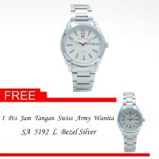Swiss Army Men's - Jam Tangan Pria - SA 5192 M Bezel Silver - Stainless Steel - Tanggal Hari + Gratis Jam Tangan Swiss Army