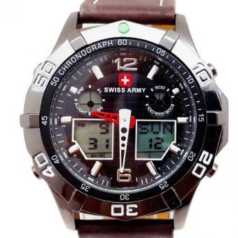 Swiss Army Men's Sport Combo - Jam Tangan Pria - Kulit Coklat Tua - SA 1101 B